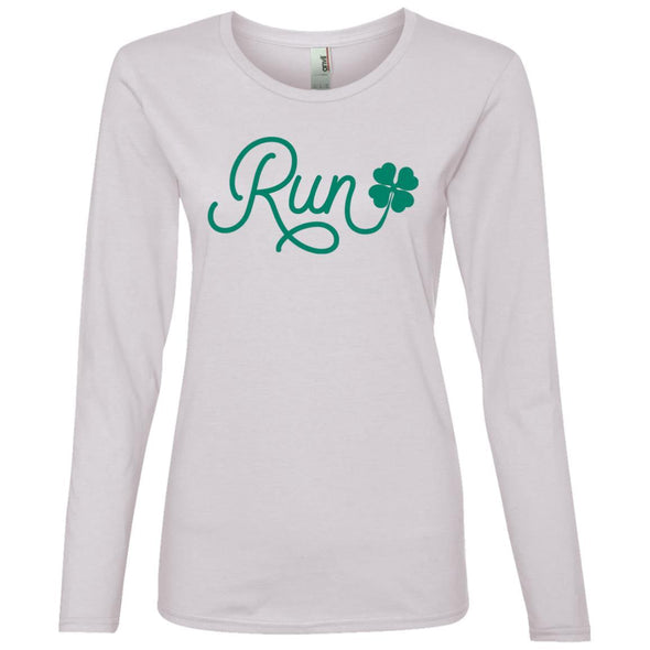 Run Lucky Charm Long Sleeve T-Shirt T-Shirts CustomCat White S