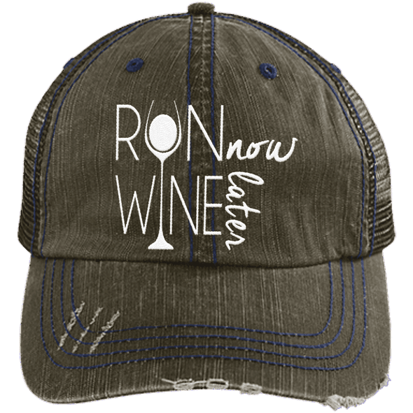 Run Now Wine Later Distressed Trucker Cap Apparel CustomCat 6990 Distressed Unstructured Trucker Cap Brown/Navy One Size