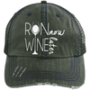 Run Now Wine Later Distressed Trucker Cap Apparel CustomCat 6990 Distressed Unstructured Trucker Cap Dark Green/Navy One Size