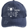 Run Now Wine Later Distressed Trucker Cap Apparel CustomCat 6990 Distressed Unstructured Trucker Cap Navy/Navy One Size