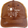 Run Now Wine Later Distressed Trucker Cap Apparel CustomCat 6990 Distressed Unstructured Trucker Cap Orange/Navy One Size