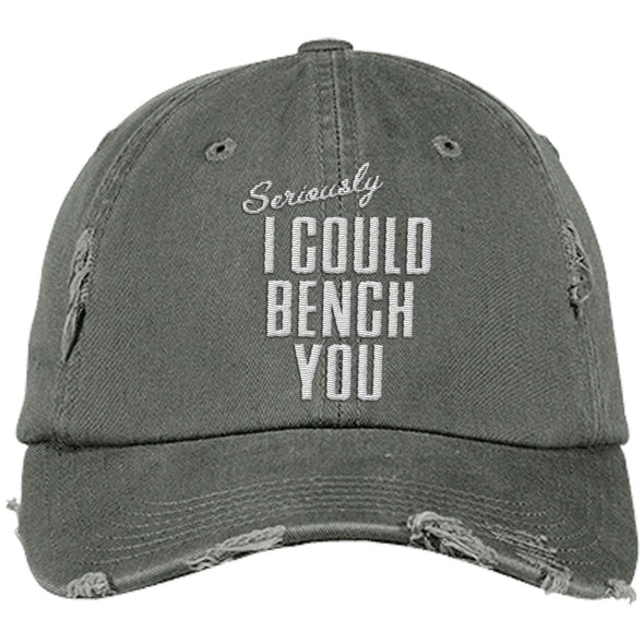 Seriously I Can Bench You Cap Hats CustomCat Distressed Dad Cap Light Olive One Size