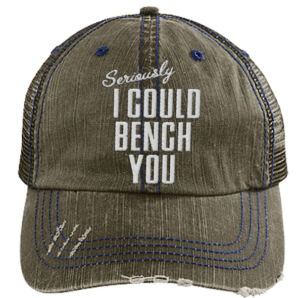 Seriously I Can Bench You Cap Hats CustomCat Distressed Trucker Cap Brown/Navy One Size