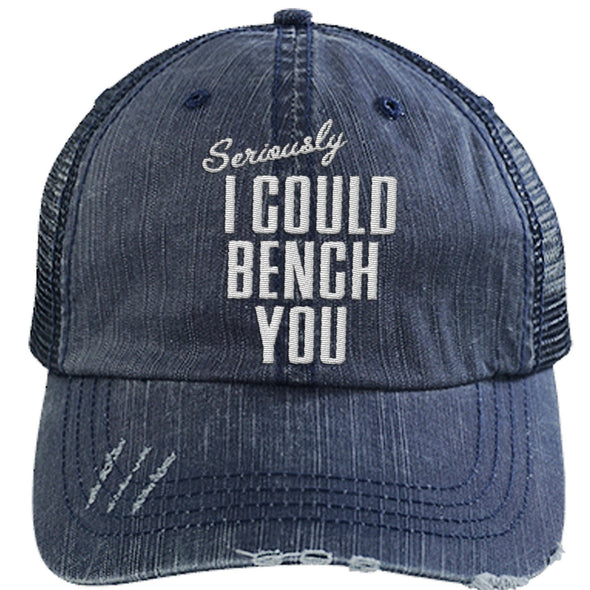 Seriously I Can Bench You Cap Hats CustomCat Distressed Trucker Cap Navy/Navy One Size