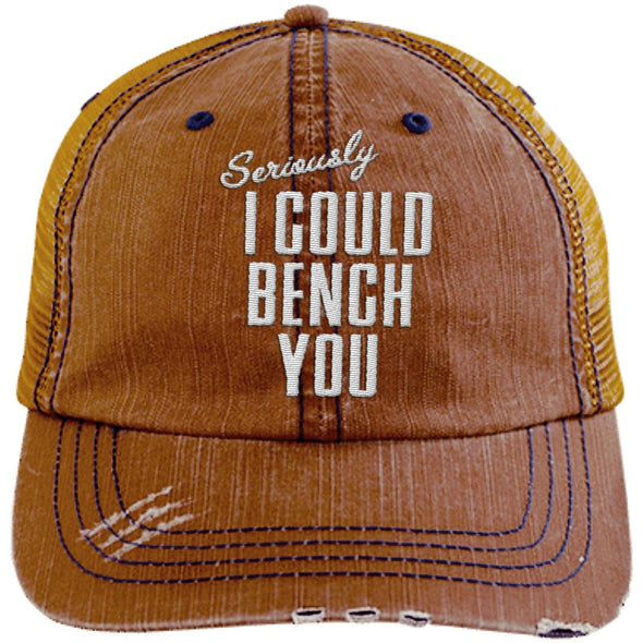 Seriously I Can Bench You Cap Hats CustomCat Distressed Trucker Cap Orange/Navy One Size
