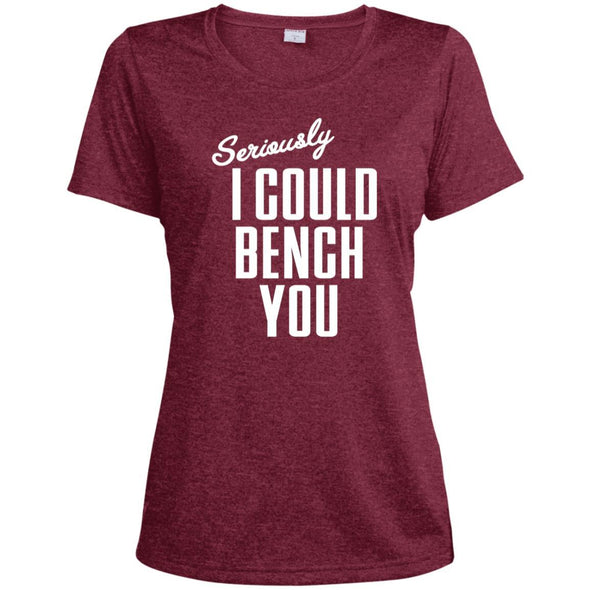 Seriously I Could Bench You Dri-Fit Tee T-Shirts CustomCat Cardinal Heather X-Small