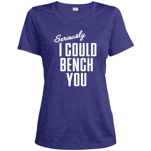 Seriously I Could Bench You Dri-Fit Tee T-Shirts CustomCat Cobalt Heather X-Small