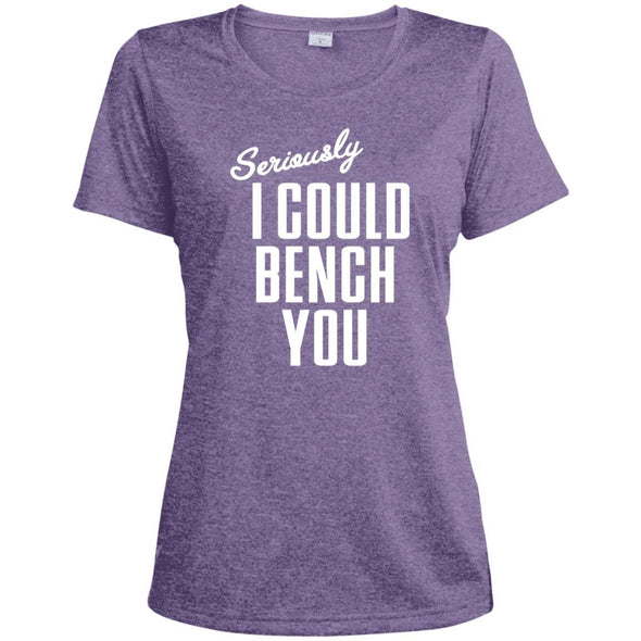 Seriously I Could Bench You Dri-Fit Tee T-Shirts CustomCat Purple Heather X-Small