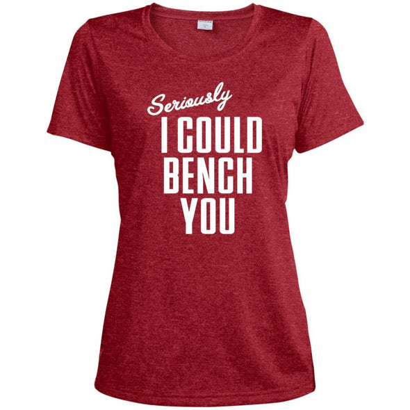 Seriously I Could Bench You Dri-Fit Tee T-Shirts CustomCat Scarlet Heather X-Small