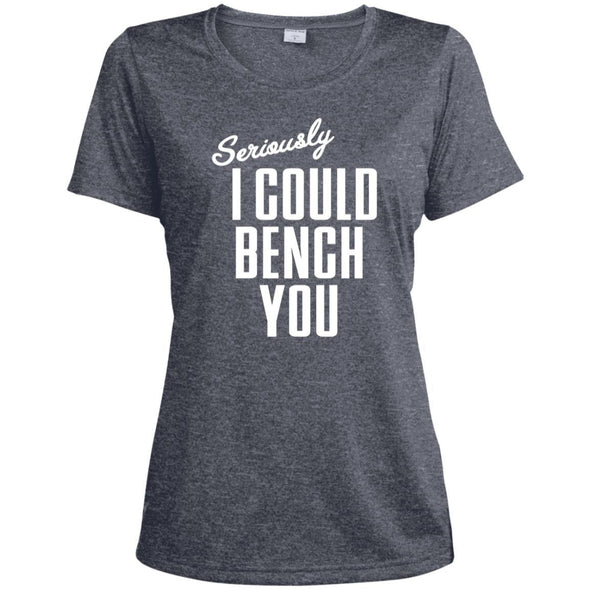 Seriously I Could Bench You Dri-Fit Tee T-Shirts CustomCat True Navy Heather X-Small