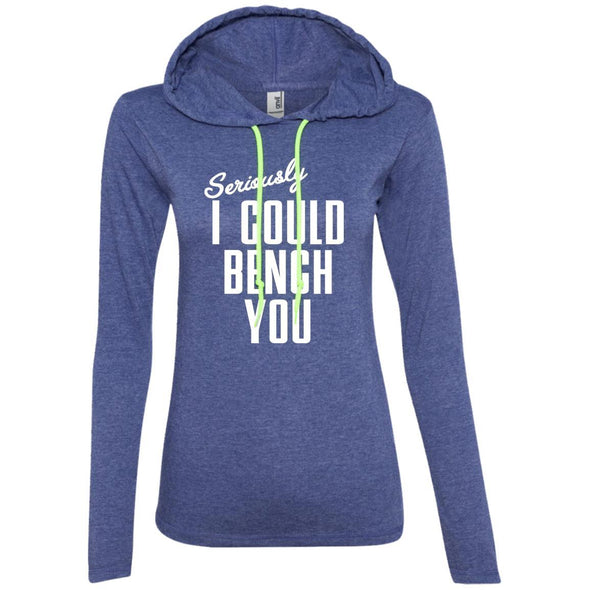 Seriously I Could Bench You Hoodie T-Shirts CustomCat Heather Blue/Neon Yellow S