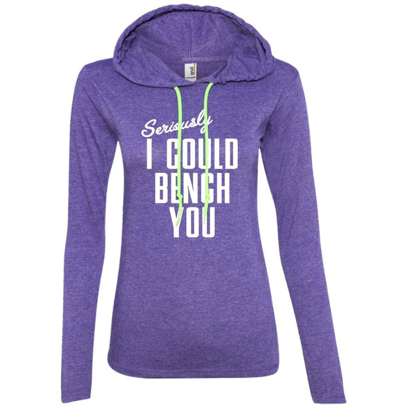 Seriously I Could Bench You Hoodie T-Shirts CustomCat Heather Purple/Neon Yellow S