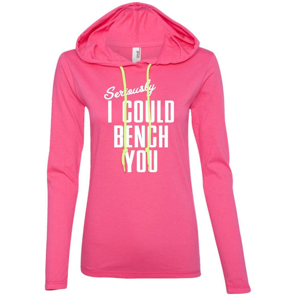 Seriously I Could Bench You Hoodie T-Shirts CustomCat Hot Pink/Neon Yellow S