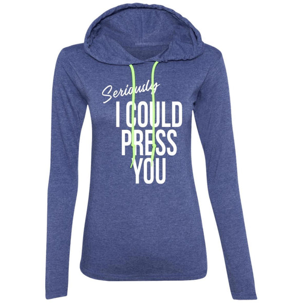 Seriously I could Press you Sweatshirt Hoodie T-Shirts CustomCat Heather Blue/Neon Yellow S