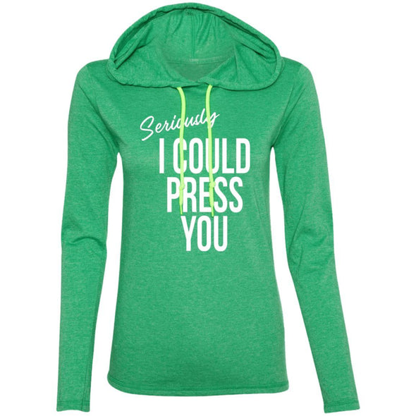 Seriously I could Press you Sweatshirt Hoodie T-Shirts CustomCat Heather Green/Neon Yellow S