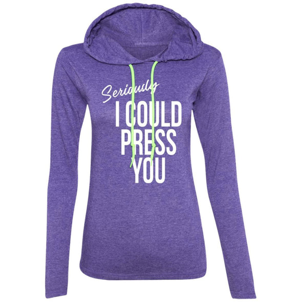 Seriously I could Press you Sweatshirt Hoodie T-Shirts CustomCat Heather Purple/Neon Yellow S