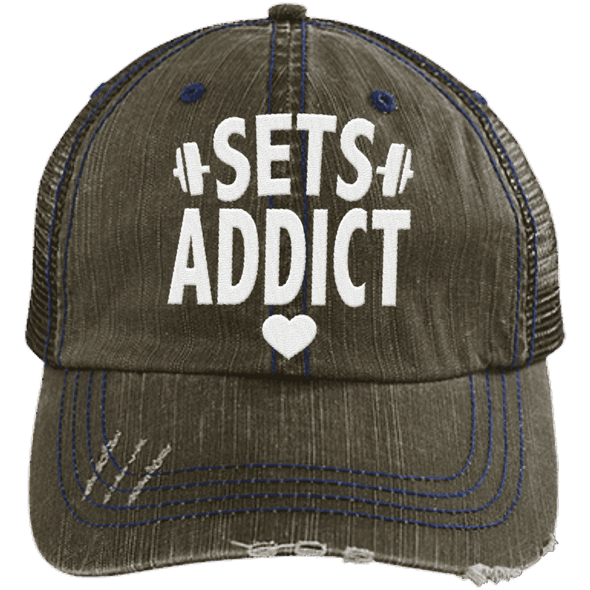 Sets Addict Distressed Trucker Cap Apparel CustomCat 6990 Distressed Unstructured Trucker Cap Brown/Navy One Size