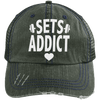 Sets Addict Distressed Trucker Cap Apparel CustomCat 6990 Distressed Unstructured Trucker Cap Dark Green/Navy One Size