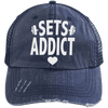 Sets Addict Distressed Trucker Cap Apparel CustomCat 6990 Distressed Unstructured Trucker Cap Navy/Navy One Size