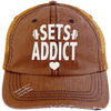 Sets Addict Distressed Trucker Cap Apparel CustomCat 6990 Distressed Unstructured Trucker Cap Orange/Navy One Size