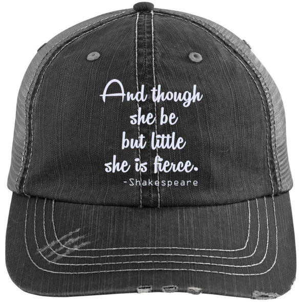 She be but Little, She Is Fierce (Cap) Hats CustomCat Black/Grey One Size