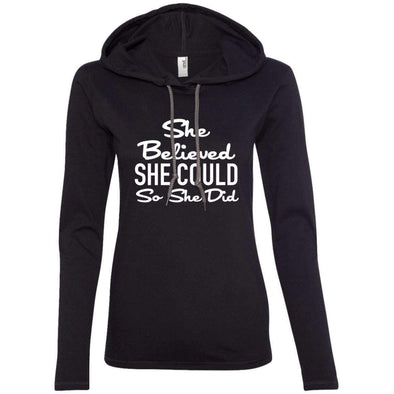She Believed She Could T-Shirts CustomCat Black/Dark Grey Small
