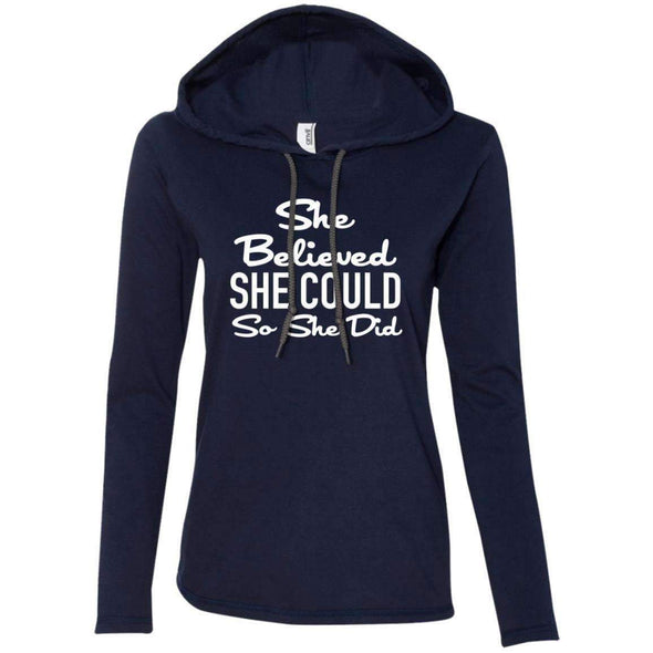 She Believed She Could T-Shirts CustomCat Navy/Dark Grey Small