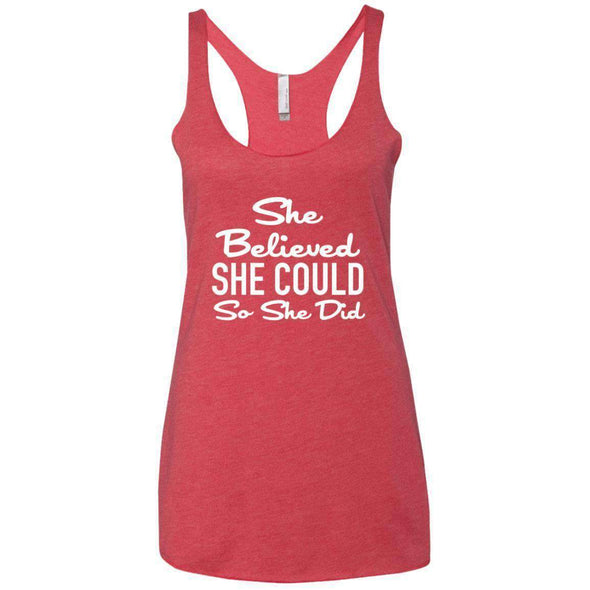 She Believed She Could T-Shirts CustomCat Vintage Red X-Small