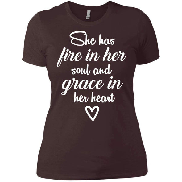 She Has Fire in Her Soul T-Shirts CustomCat Dark Chocolate X-Small