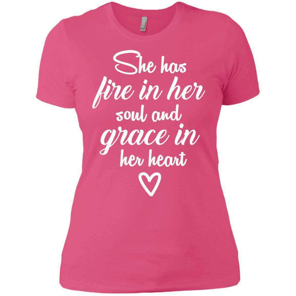 She Has Fire in Her Soul T-Shirts CustomCat Hot Pink X-Small