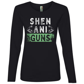 Shenani-GUNS Long Sleeve T-Shirt T-Shirts CustomCat Black S
