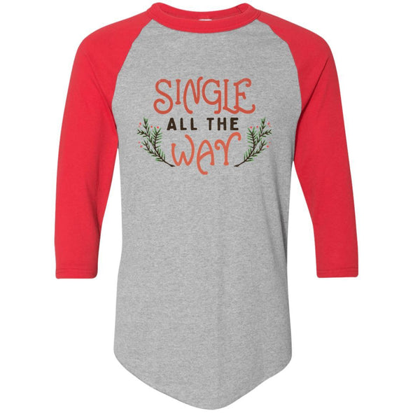 single-all-the-way Apparel CustomCat Raglan Jersey Athletic Heather/Red S