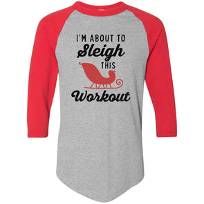 Sleigh-Workout Apparel CustomCat Raglan Jersey Athletic Heather/Red S