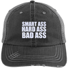 Smart Ass Bad Ass Distressed Trucker Cap Apparel CustomCat 6990 Distressed Unstructured Trucker Cap Black/Grey One Size