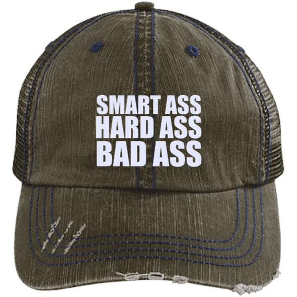 Smart Ass Bad Ass Distressed Trucker Cap Apparel CustomCat 6990 Distressed Unstructured Trucker Cap Brown/Navy One Size