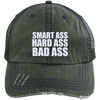 Smart Ass Bad Ass Distressed Trucker Cap Apparel CustomCat 6990 Distressed Unstructured Trucker Cap Dark Green/Navy One Size