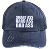 Smart Ass Bad Ass Distressed Trucker Cap Apparel CustomCat 6990 Distressed Unstructured Trucker Cap Navy/Navy One Size