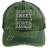 Sorta Sweet Sorta Savage Hats CustomCat Dark Green/Navy One Size
