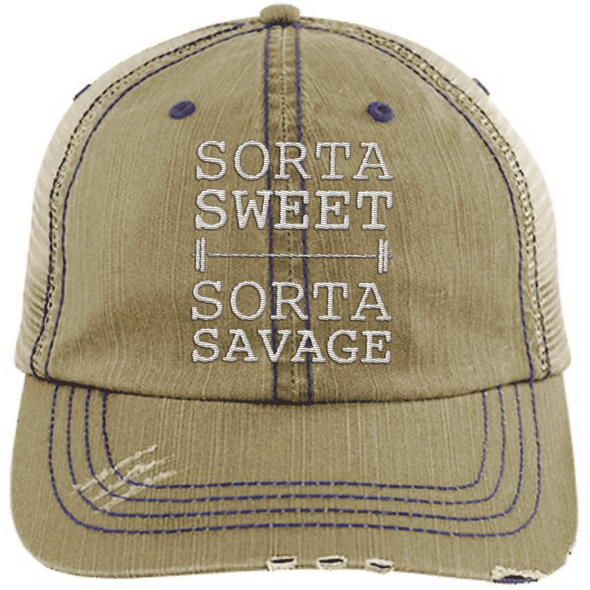 Sorta Sweet Sorta Savage Hats CustomCat Khaki/Navy One Size