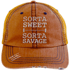 Sorta Sweet Sorta Savage Hats CustomCat Orange/Navy One Size