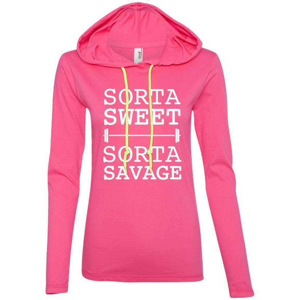 Sorta Sweet Sorta Savage T-Shirts CustomCat Hot Pink/Neon Yellow Small