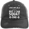 Squat a Model Trucker Cap Apparel CustomCat 6990 Distressed Unstructured Trucker Cap Black/Grey One Size