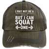 Squat a Model Trucker Cap Apparel CustomCat 6990 Distressed Unstructured Trucker Cap Brown/Navy One Size
