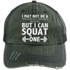 Squat a Model Trucker Cap Apparel CustomCat 6990 Distressed Unstructured Trucker Cap Dark Green/Navy One Size