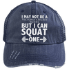 Squat a Model Trucker Cap Apparel CustomCat 6990 Distressed Unstructured Trucker Cap Navy/Navy One Size