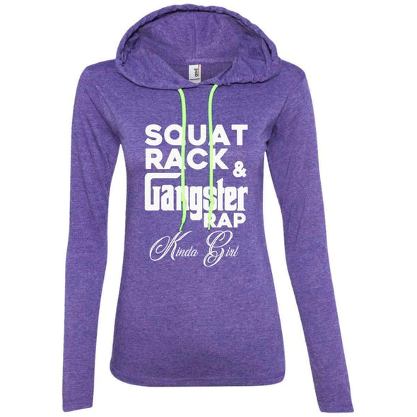 Squat Rack & Gangster Rap T-Shirts CustomCat Heather Purple/Neon Yellow Small
