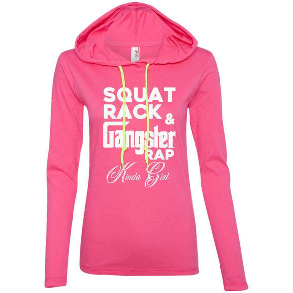 Squat Rack & Gangster Rap T-Shirts CustomCat Hot Pink/Neon Yellow Small