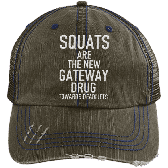 Squats are the New Gateway Drug Distressed Trucker Cap Apparel CustomCat 6990 Distressed Unstructured Trucker Cap Brown/Navy One Size