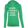 Squats & (Hoodies) Apparel CustomCat 887L Anvil Ladies' LS T-Shirt Hoodie Heather Green/Neon Yellow Small