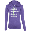 Squats & (Hoodies) Apparel CustomCat 887L Anvil Ladies' LS T-Shirt Hoodie Heather Purple/Neon Yellow Small